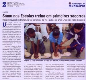 SAMU nas Escolas no Diário Oficial do Município de Salvador