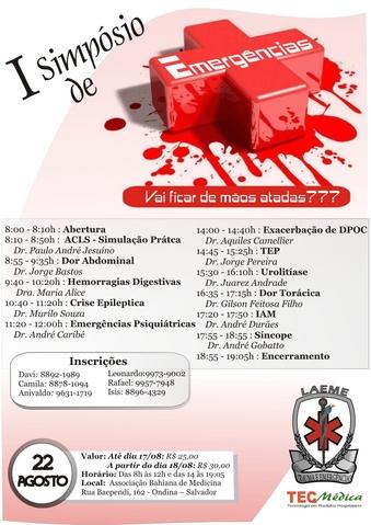 Cartaz do I Simpósio de Emergências Clínicas da LAEME